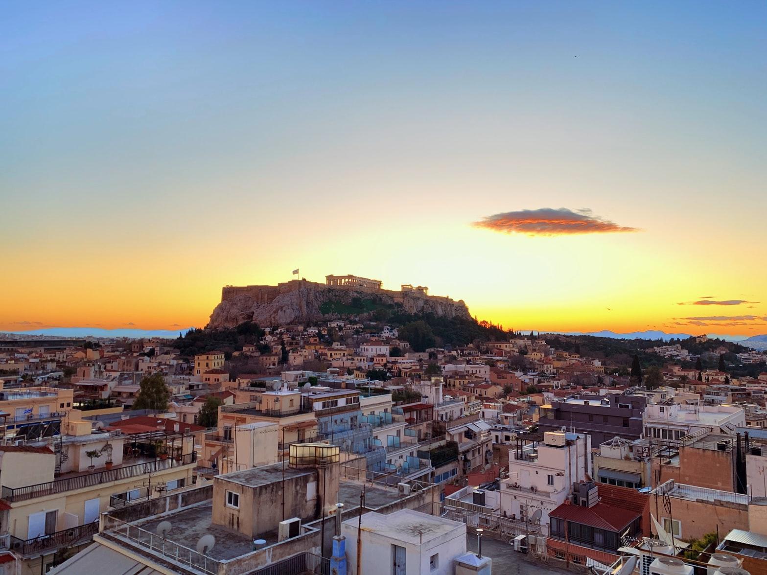 Stadtblick auf die Akropolis in Athen Griechenland