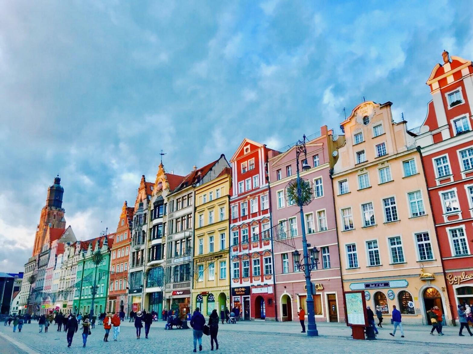 Häuserfassaden in Breslau