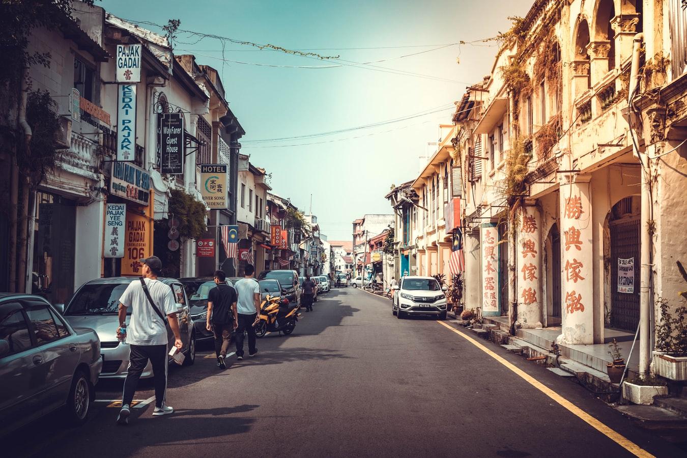 Straßenszene in Melakka Malaysia