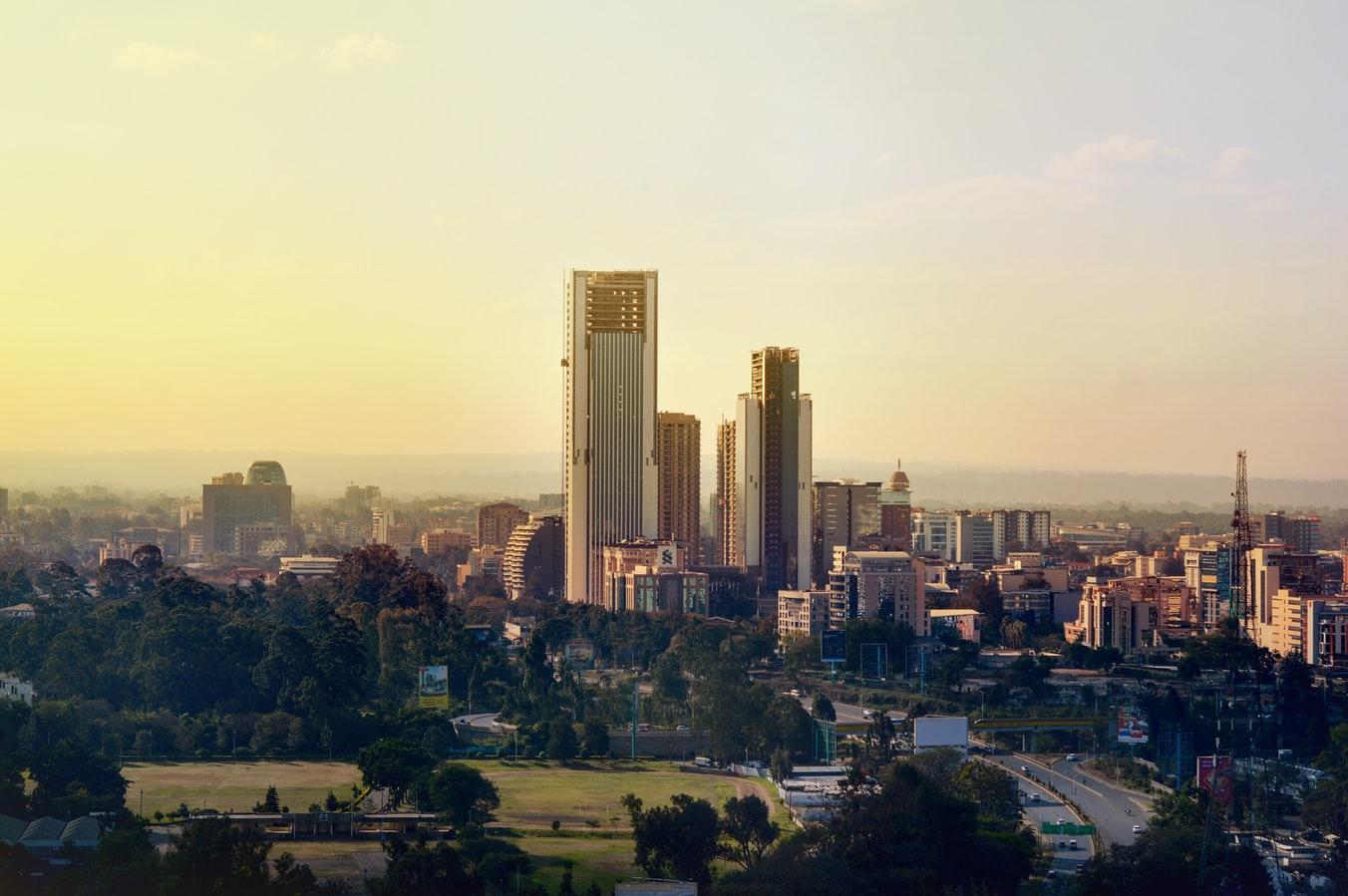 Blick auf Skyline von Nairobi Kenia