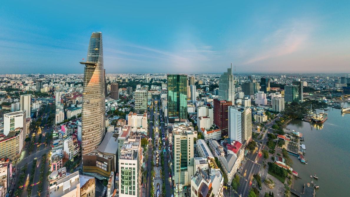 Vogelperspektive auf Ho-Chi-Minh-City Vietnam