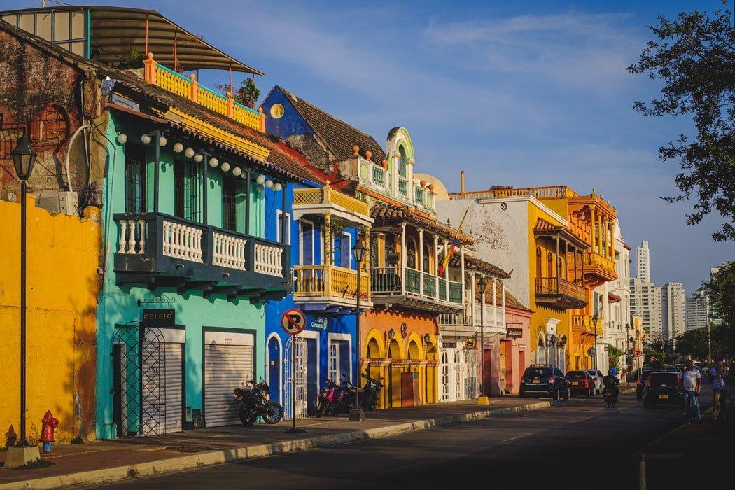Straßenzug in Cartagena Kolumbien