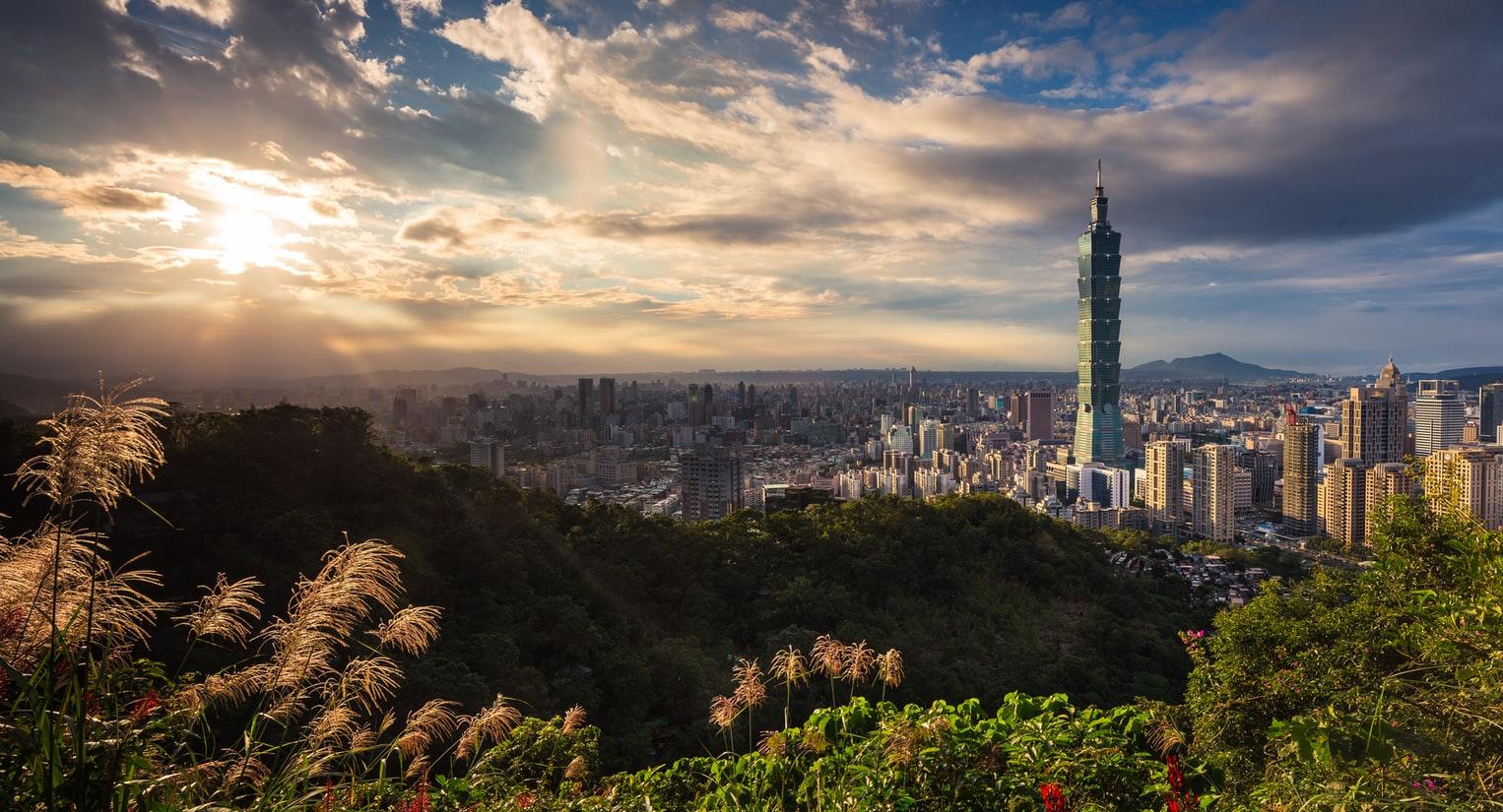Blick auf Taipei 101 und Skyline in Taipei Taiwan