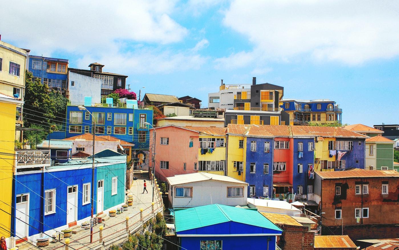 Bunte Häuser in Valparaiso Chile