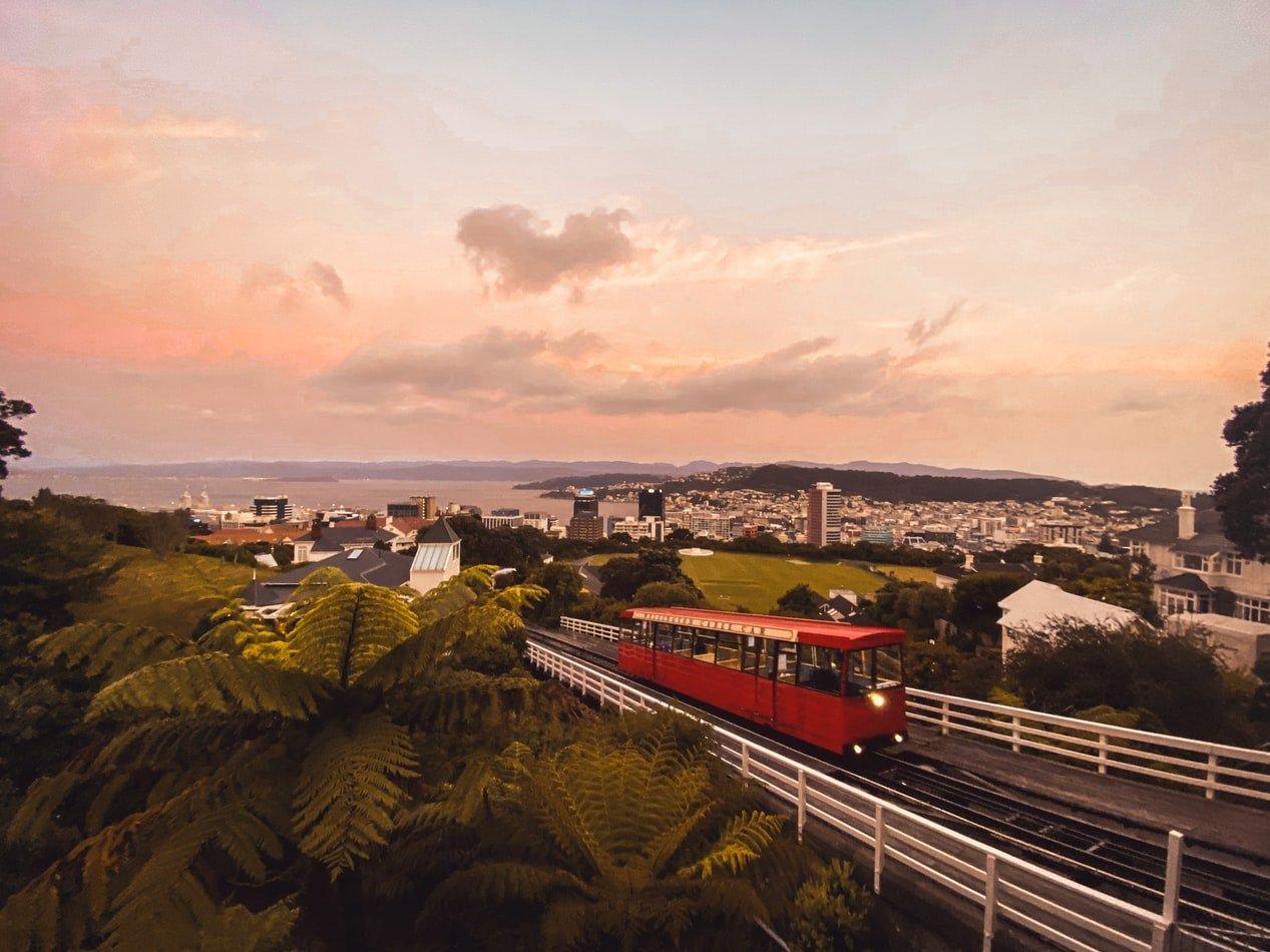 Blick auf Cable Car in Wellington Neuseeland