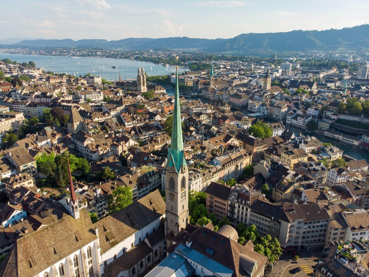 Vogelperspektive auf Zürich Schweiz