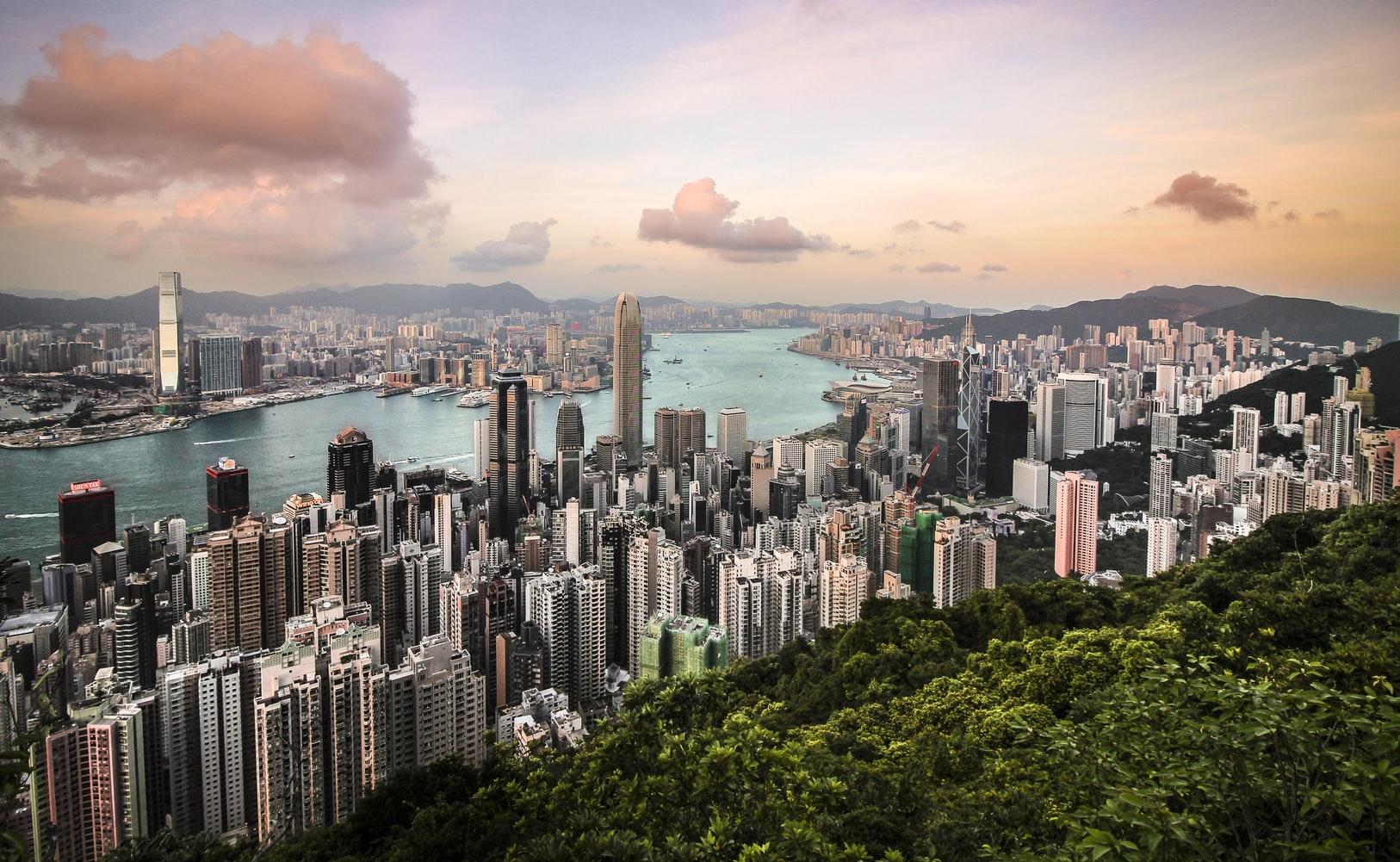 Blick vom Victoria Peak auf Hongkong in China